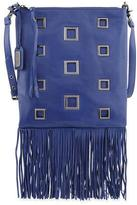 Badgley Mischka Lisa Leather Crossbody Bag W/Fringe, Ink