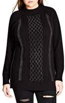City Chic Plus Size Women's Mock Neck Argyle Sweater