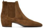 Saint Laurent Brown Suede Caleb Chelsea Boots