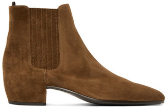 Saint Laurent Brown Suede Caleb Chelsea Boots