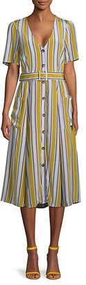 ASTR the Label Striped Belted Button-Front Dress