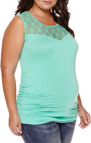 Asstd National Brand Maternity Garment Dye Lace Tank Top - Plus