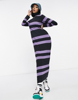 ASOS DESIGN long sleeve maxi t-shirt dress in dusty purple and black stripe