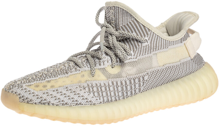 Yeezy x Adidas White/Grey Knit Fabric Boost 350 V2 Static Non-Reflective Sneakers Size 42