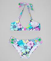 Beach Rays Aqua Floral Bikini - Girls