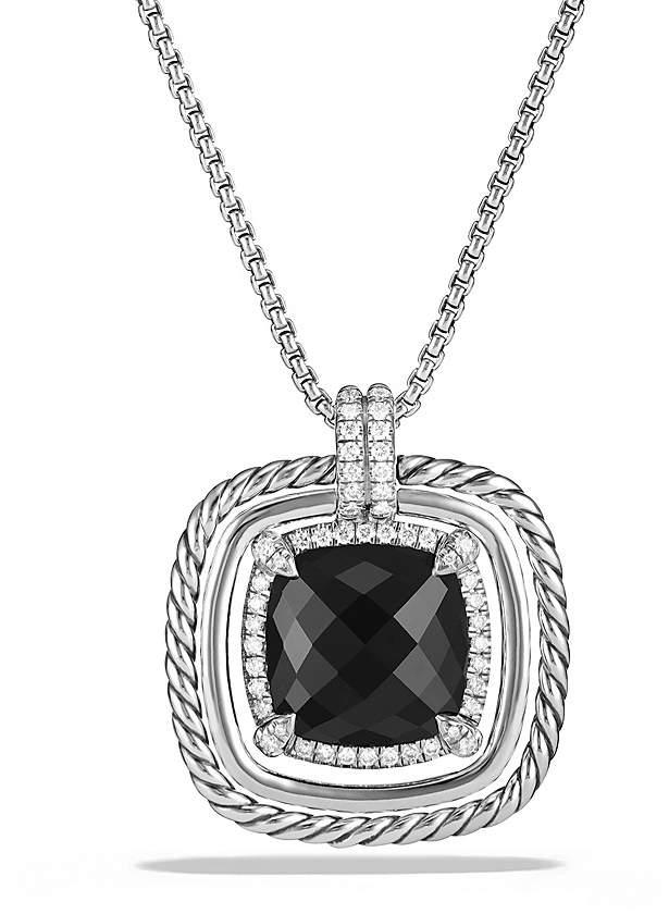 David Yurman Ch'telaine Pavé Bezel Necklace with Black Onyx and Diamonds