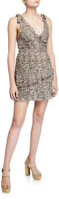 La Maison Talulah Superbloom Leopard-Print Ruffle Dress