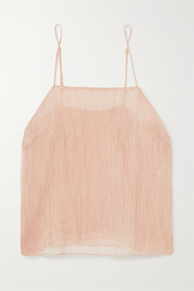 Skin Crinkled Silk-chiffon Camisole - Pink