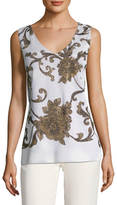 St. John Anthea Floral Sequin Shell