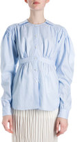 Loewe Smocked Cotton Puff-Sleeve Blouse, Light Blue