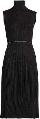 Prada Wool-Blend Lurex Ribbed Turtleneck Dress