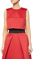 Milly Jewel-Neck Cropped Shell, Red