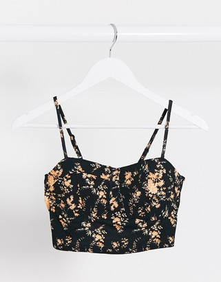 Asos DESIGN co-ord bralet with padding in floral print
