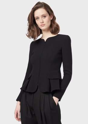 Emporio Armani Peplum Jacket In Double-Crepe Wool