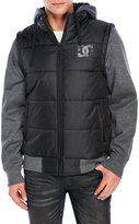 DC Knit Sleeve Hooded Puffer Jacket