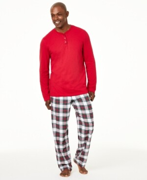 Family Pajamas Matching Men's Mix It Stewart Plaid Family Pajama Set, Created for Macy's