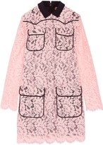 MSGM Crepe-trimmed lace mini dress