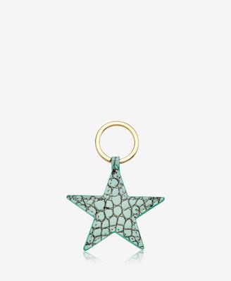 GiGi New York Star Keychain, Mint Crocodile Embossed Leather