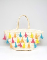South Beach Straw Beach Bag With Colored Tassels