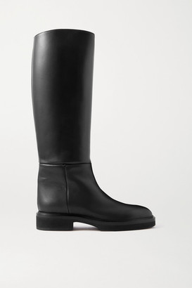 KHAITE Derby Leather Knee Boots - Black
