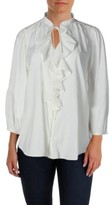 Lauren Ralph Lauren LRL Womens Ruffled 3/4 Sleeves Button-Down Top