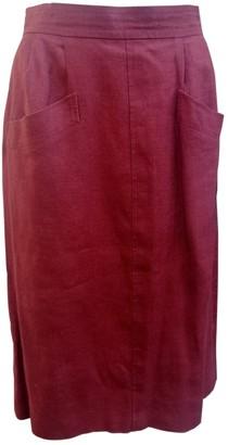Saint Laurent Burgundy Linen Skirts