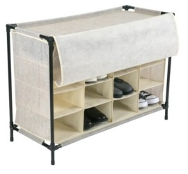 Simplify 16 Compartment Shoe Cubby in Faux Jute