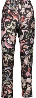 Valentino Cropped Printed Silk-twill Tapered Pants