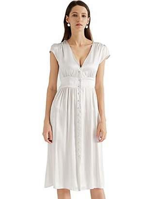 MEHEPBURN Women's 100% Silk Deep V Neck Button Up Midi Dress Cap Sleeve High Waist Party Dresses S