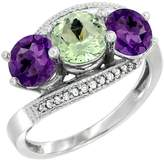Gabriella Gold 10K White Gold Natural & Purple Amethysts 3 stone Ring Round 6mm Diamond Accent, size 6.5