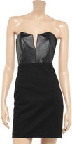 Mason by Michelle Mason Leather and stretch-cotton twill bustier dress