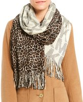 Michael Kors Raschel Fringed Cheetah & Pindot Logo Scarf