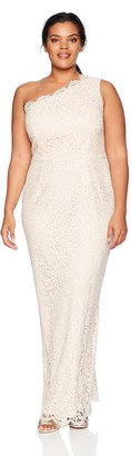 Adrianna Papell Women's One Shoulder Metallic Corded lace Column Plus Size