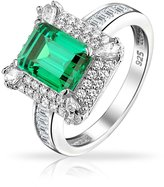 Bling Jewelry 925 Sterling Silver Simulated Emerald CZ Cocktail Ring