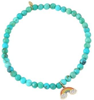 Sydney Evan 14K Yellow Gold, Matrix Turquoise & Diamond Rainbow Charm Bracelet