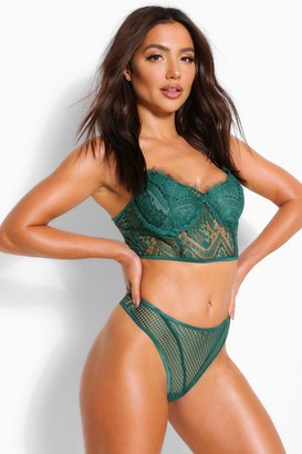 boohoo Longline Eyelash Lace Bralet and Thong Set