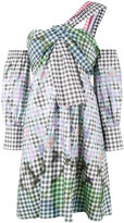 Peter Pilotto one-shoulder diamond print gingham dress - women - Cotton/Spandex/Elastane - 10