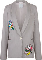 Mira Mikati Black & White Pinstripe Patch Jacket