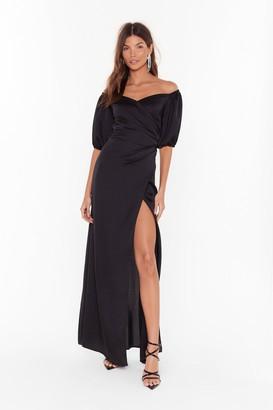 Nasty Gal Womens Break It Off-the-Shoulder Satin Maxi Dress - Black