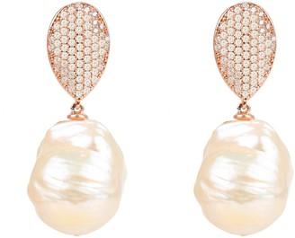 Rosegold Classic Baroque Pearl Cz Drop Earrings