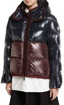 Moncler Cotinus Colorblocked Shiny Quilted Down Coat