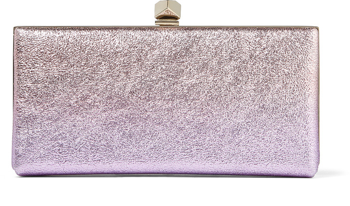 Jimmy Choo CELESTE/S Blush Mix Stardust Degrade Crinkled Leather Clutch Bag with Cube Clasp