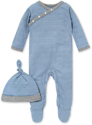 Burt's Bees Dotted Jacquard Stripe Organic Baby Footie Jumpsuit & Knot Top Hat Set