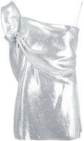 Baja East gathered sleeve metallic top - women - Lurex/Silk - 0