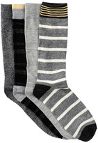 Lucky Brand Dash Stripes & Marl Crew Socks - Pack of 4