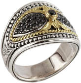 Konstantino Sterling Silver & 18K Gold Black Diamond Pave Ring - 0.44 ctw - Size 7