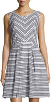 Neiman Marcus Boat-Neck Linen-Blend Striped Dress