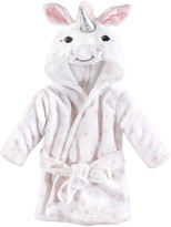 Hudson Baby Girls' Bath Robes White - White Unicorn Hooded Bathrobe - Newborn