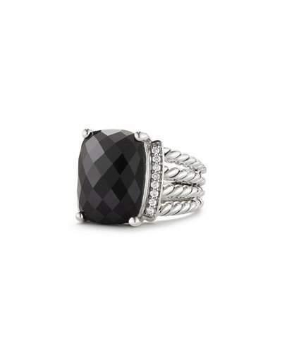 David Yurman Wheaton Ring with Black Onyx and Diamonds