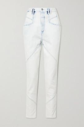 Isabel Marant Nadeloisa Paneled High-rise Tapered Jeans - Light denim
